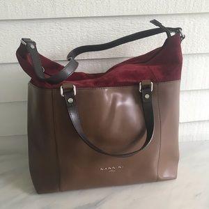 Italian Leather & Suede Large Handbag/Tote